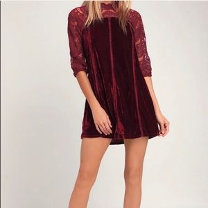 Lulu's | NWT! Red Velvet and Crochet Lace Dress